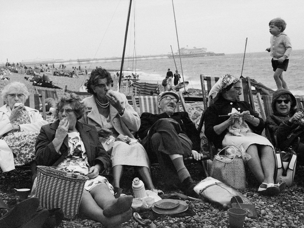 Pensioners on Brighton Beach by Tony Ray-Jones from the exhibition Only in England, at the Science M