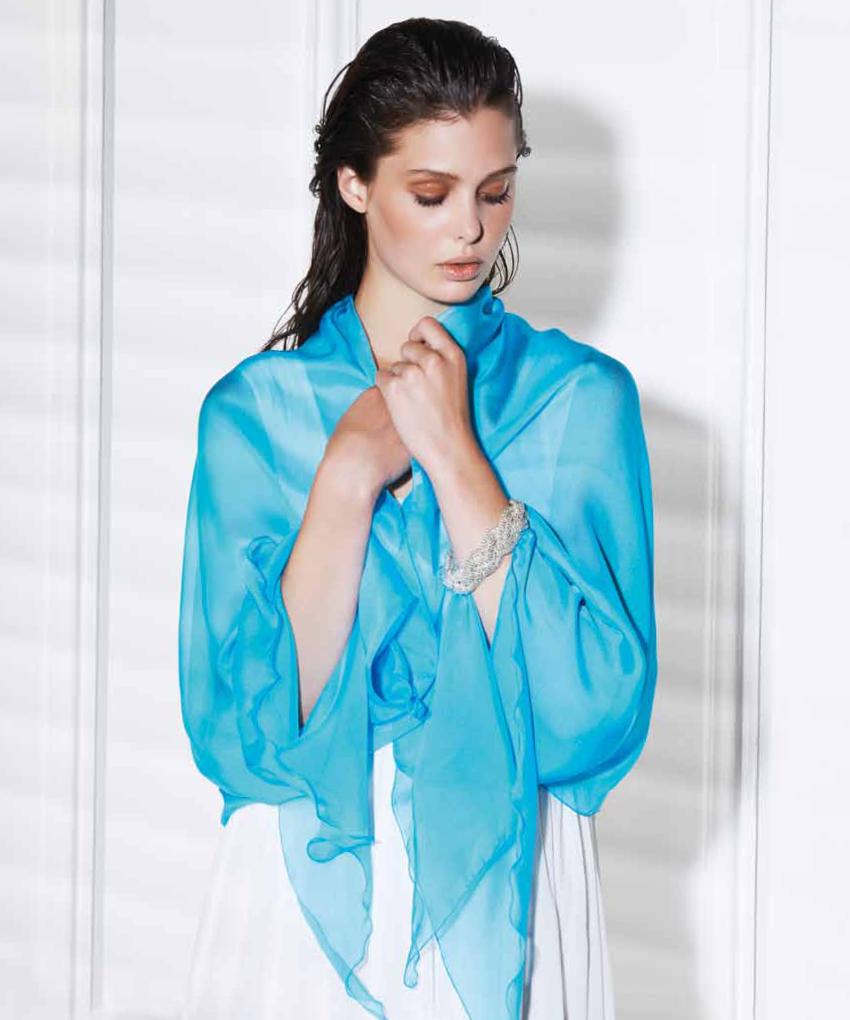 Etole en soie turquoise